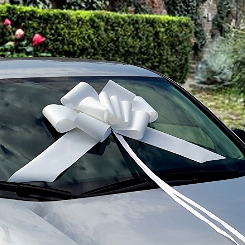 23'' Large White Car Ribbon Bow by GiftWrap Etc.