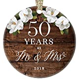 "Christmas 2018 Mr. & Mrs. Ornament 50th Fiftieth Golden Wedding Anniversary Ceramic Collectible 50 Fifty Years Married Couple Rustic Floral 3"" Flat Porcelain Keepsake with Gold Ribbon & Free Gift Box"