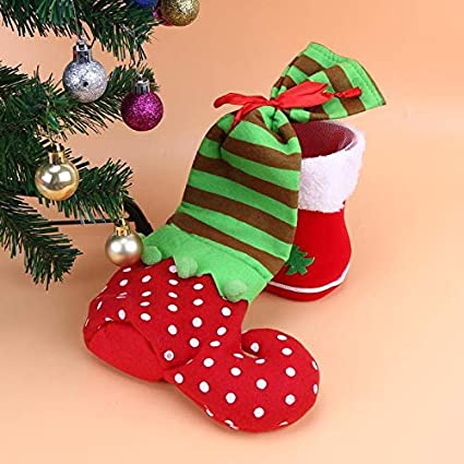 Christmas Candy Decorations.Stockings Holders Christmas Candy Bag Dot Elf Gift Tree