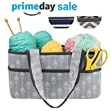 Premium Craft Caddy by Little Grey Rabbit | Knitting Storage Bin & Organizer Basket | Holds Yarn, Needles, Tape, More | Perfect Gift | Gray and Cream Arrow (Arrow)