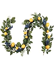 Valery Madelyn 6 Feet/72 Inch Spring Fruit Garland, Artificial Summer Garland with Lemon, Blueberry and Green Leaves for Front Door, Wall and Home Decorations