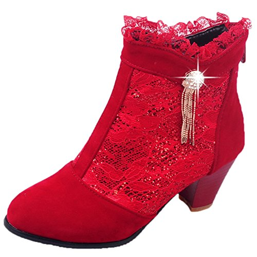 HooH Women Short Boots Suede Lace Kitten Heel Bling Rhinestone Chunky Ankle Boots Red