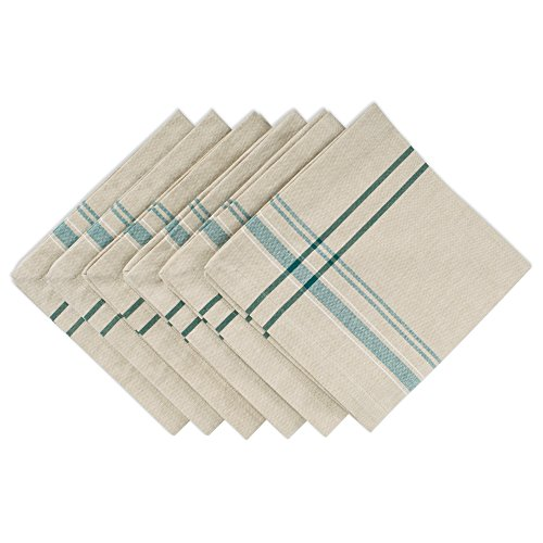 DII 100% Cotton Oversized Basic Everyday 20x20 Napkin Set of 6, Teal French Stripe, Napkin-20 x 20