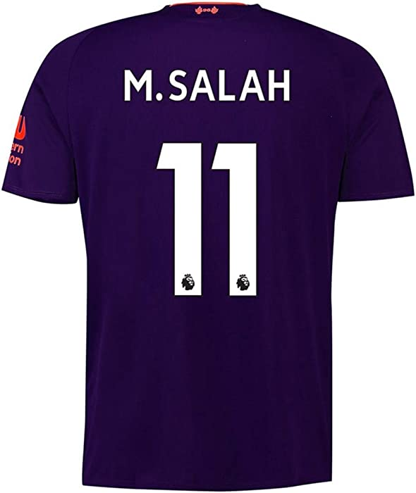 big sale e3275 bbb90 2018-2019 Liverpool Away Mens  11 M Salah Socce Jersey Color Purple Size S.  Back. Double-tap to zoom