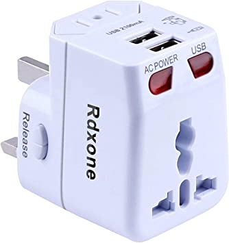 rdxone Universal mundo adaptador de viaje con 2 USB Europa, Italia, Irlanda, Reino Unido, EE. UU.