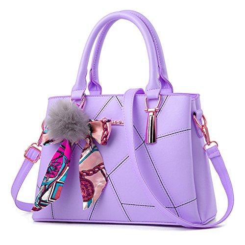 Tipo de rejilla Adornos de juguete mullido Bolso de Mano Bolso de Hombro Mujeres Mujer Top Handle Bolsas Bolsos Bolsa de hombro Bolsa Crossbody PU Cuero Negro Citron Purple