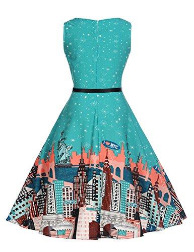 HUINI Vintage Kleid Blumen 50er 60er Retro Rockabilly Swing Kleider Geblümt  Cocktailkleid Ärmerllos Sommer Partykleider Gürtel ... 1e8e4f251a