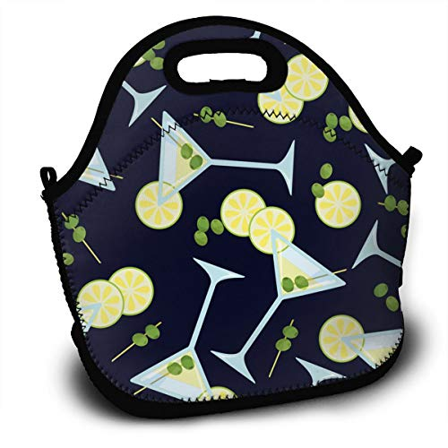 SARA NELL Neoprene Lunch Bag Insulated Pattern with A Glass of Martini Lunch Tote Bags Lunchbox Handbag with Adjustable Shoulder Strap for Work School Outdoor Picnic