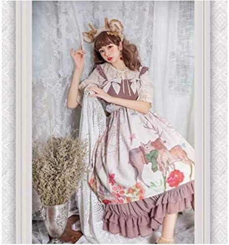 WWLZ Mädchen süße Lolita Kleid Vintage Lace Bow Cute Printing Kleid mit hoher Taille