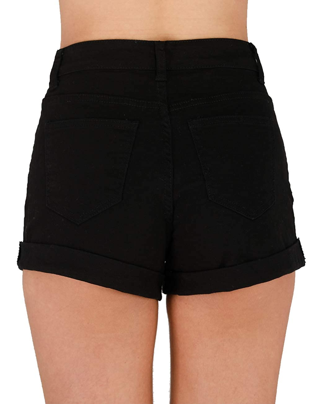 87ba23ab4b7 Haola Women's Juniors Vintage Denim High Waisted Folded Hem Jeans Shorts at  Amazon Women's Clothing store: