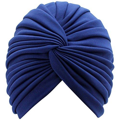 Luxury Divas Navy Blue Radiant Pleated Turban Bathing Cap