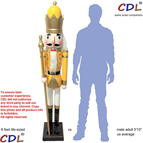 CDL 6ft tall life-size large/giant yellow Christmas wooden nutcracker soldier ornament on stand hold scepter Xmas/event/ceremonies/commercial indoor outdoor decoration(6 feet, king yellow k26)