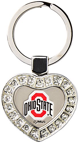 Game Day Outfitters NCAA Ohio State Buckeyes Metal Heart Keychain, One Size, Multicolor