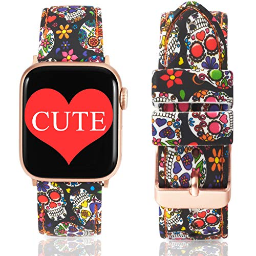 Allbingo Super Cute Bands Compatible with Apple Watch Band Series 4 40mm 44mm Rose Gold Clasps, Silicone Replacement Straps for iWatch 38mm 42mm Series 3/2/1 (Sugar Skull/Rose Gold, 42mm/44mm)