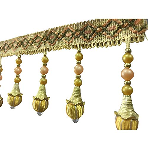 DFCDNA Golden Horn Set Bead Curtains Lace Watermelon Ball Beads Lace Furniture Decorations Curtain Decoration (Color : Gold)