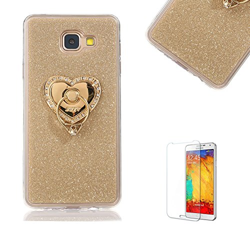 For Samsung Galaxy J5 Prime Case [with Free Screen Protector].Funyye Soft Ultra Thin Gel Silicone TPU Shock Proof Durable Scratch Resistant Glitter With Love Hearts Ring Holder Protective Case Cover Skin Shell for Samsung Galaxy J5 Prime-Gold