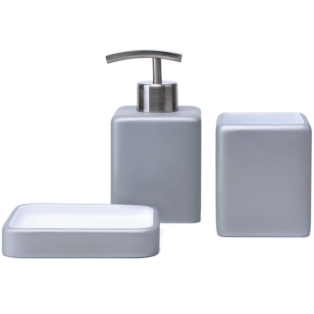 Satu Brown Bathroom Accessories Set Bathroom Soap Dispenser, Tumbler, Soap Dish 3 Pieces Bathroom Sets for Décor and Home Gift (Silver)
