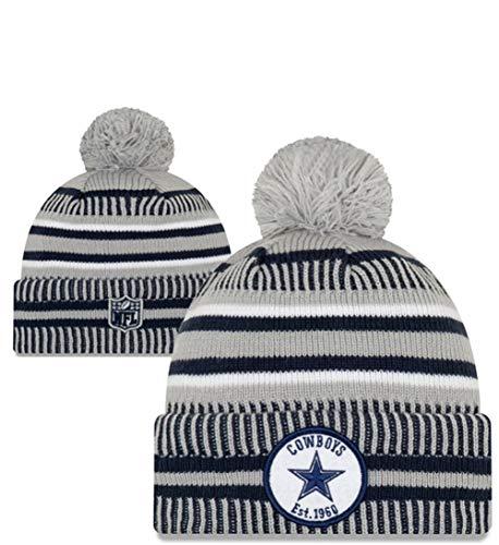 New Era NFL Dallas Cowboys Sport Knit Winter Pom Knit Hat Cap Beanie (Dallas New Era Beanie)
