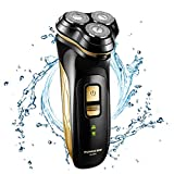 Facial Hair Styles Bald Head - Runwe Professional Electric Razor For Men Waterproof Rotary Shavers Wet And Dry Cordless Usb Rechargeable With Pop Up Trimmer, Black (gold)