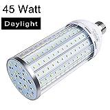 Auzer 45W LED Corn Light Bulb (300W Equivalent), E26 Base, 4500-Lumen, 6500K Daylight Cool White, AC 85V-265V, LED Corn Bulb for Indoor Outdoor Large Area Garage Factory Warehouse High Bay