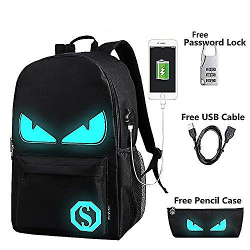 Anime Luminous Backpack Noctilucent School Bags Daypack USB chargeing port Laptop Bag Handbag For Boys Girls Men Women (Black Evil Eye)