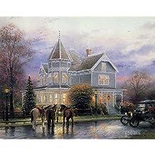 SomoArt- Poster Wall Art Home Decor HD Prints Oil Paintings on Canvas Christmas Memories Thomas Kinkade Landscape Beautiful Art