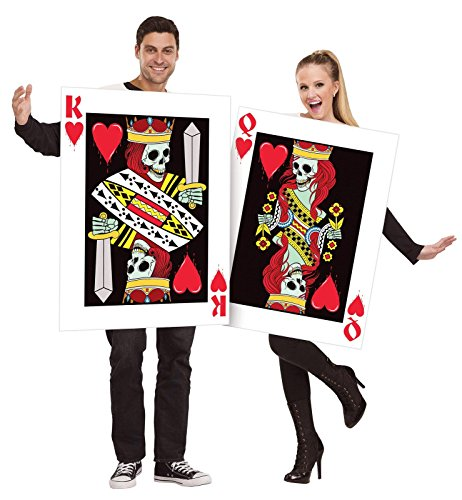 (Fun World Men's OneSize Dark King & Queen of Hearts, Multi)