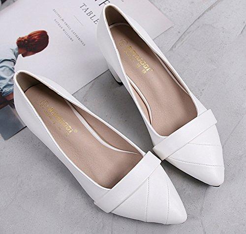 De Aisun Moyen Escarpins Chaussures Talon Travail Blanc Mode Femme 7SnwUrSt