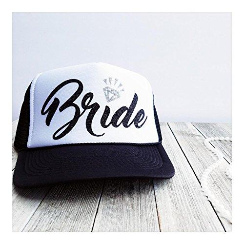 Bachelorette Party Bride Tribe Mesh Trucker Snap Back Hat (Black Hat/White Panel, Black Bride/Silver -