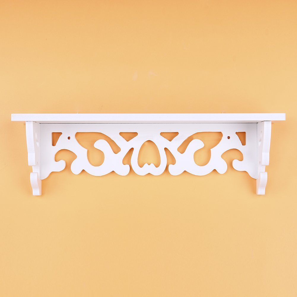 Yosoo White Wooden Chic Filigree Style Decorative Floating Wall Shelf, CutOut Design Shelves (Small)
