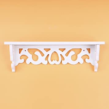 Yosoo White Wooden Chic Filigree Style Decorative Floating Wall ...