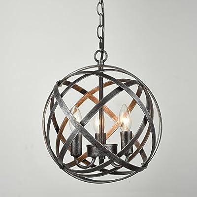 DANXU LIGHTING Industrial Edison Hanging Pendant 3 Lights Large Size Art Deco Cage Lamp Guard Candle light