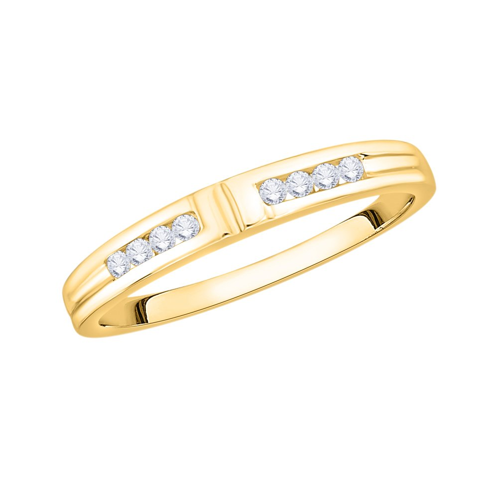 1//8 cttw, Size-6.25 G-H,I2-I3 Diamond Wedding Band in 14K Yellow Gold