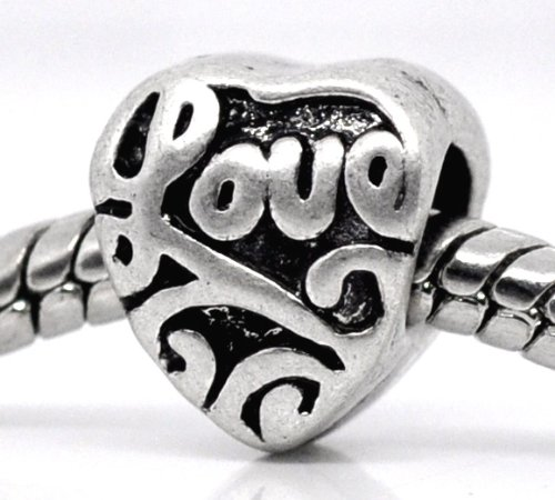European Style Love Heart Charm Bead. Compatible With Troll, Zable, Baigi, Chamilia, And Many More Charm Bracelets.