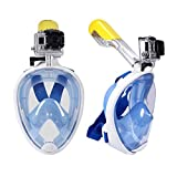 Full Face Snorkeling Diving Mask Set Underwater Swimming Training Scuba Mergulho Snorkeling Mask For Gopro Camera (L / XL)Blue