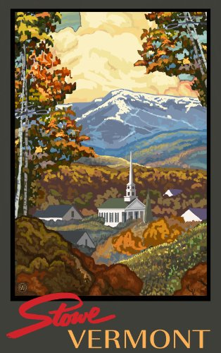 Northwest Art Mall Stowe Vermont in Autumn Unframed Poster Print by Paul A. Lanquist, 11-Inch by 17-Inch