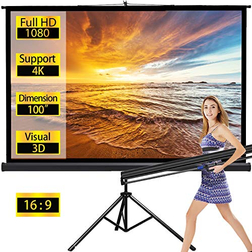 Projector Screen with Stand Outdoor Portable Pull Down Movie Screen 100 inch for Home Theater 1.3 Gain 16:9 160 Gegree Viewing Angle (Black)