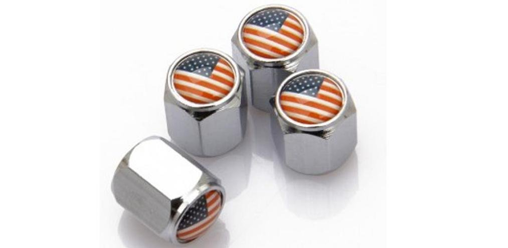 USA America US Flag Car Wheel Tire Stem Air Valve Caps Dust Covers w//Key Chain