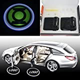 SHE'O® 2x bright Green Lantern logo Magnetic Wireless car door projector LED projection courtesy welcome logo shadow ghost light Magnet Sensor Powered by battery