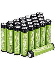 Amazon Basics Pacote com 24 pilhas recarregáveis AAA com capacidade de desempenho de 800 mAh, pré-carregadas, podem ser recarregadas 1.000 vezes