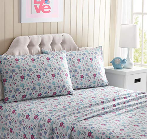 Kute Kids Super Soft Sheet Set - Flowers - Includes Pillowcase(s) Available in Twin, Full & Queen Size (Full)