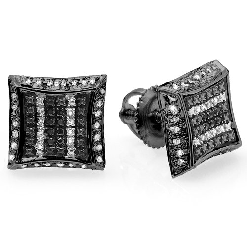 0.10 Carat (ctw) Black Rhodium Plated 10K White Gold White & Black Diamond Kite Shape Stud Earrings by DazzlingRock Collection