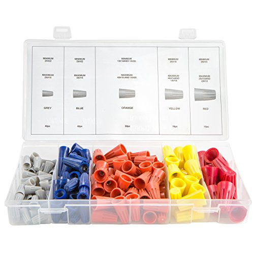 XtremepowerUS 158pc Electrical Wire Connection Screw Twist Connector Cap w/Spring Insert Assortment Kit