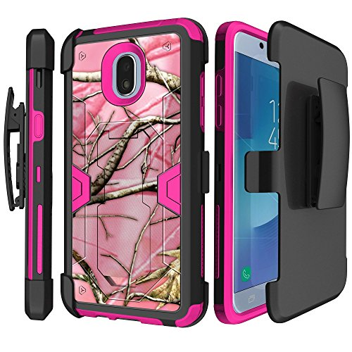 Hot Pink MINITURTLE Cover Compatible with Samsung Galaxy J3 (2018) / Express Prime 3 (at&T)/ Galaxy J3 Eclipse 2(Verizon) [MAX Defense Holster Case][Built-in Kickstand][Pink] - Pink Tree Camo