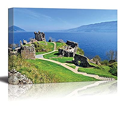 Beautiful Scenery Landscape of Ruins of Urquhart Castle Along Loch Ness Scotland Wall Decor, Made to Last, Amazing Portrait