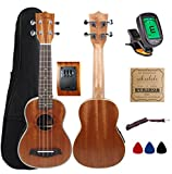 Kulana Deluxe Soprano Acoustic-Electric Ukulele, Mahogany Wood with Binding and Aquila Strings + Gig Bag