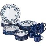 1 Aparelho de Jantar e Chá 30 Peças Oxford Daily Floreal Energy Branco/Azul