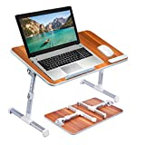 Neetto Adjustable Laptop Bed Table, Portable Standing Desk, Foldable Sofa Breakfast Tray, Notebook Stand Reading Holder for Couch Floor Kids - American Cherry [Large Size]