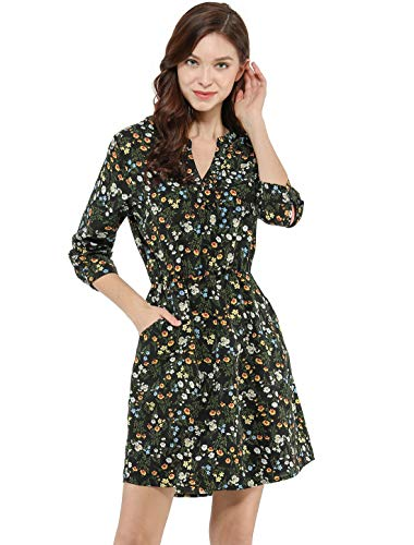Allegra K Women's Floral Print Button Down V Neck 3/4 Sleeves Side Pockets Vintage Dress S Black ()