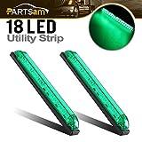 Partsam 2pcs 8' Led Marker Light Utility Strip Light Bar For 12V Truck Trailer Boat 18 Green LED